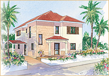 Watercolour of an Andros Villa
